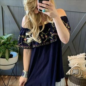 Bohemian off the shoulder embroidered blouse